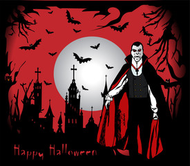 Happy Halloween background illustration/vector with Dracula and castle
