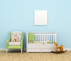 Children's room with a bed, sofa, toys, empty white painting for