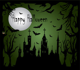 Happy Halloween background illustration/vector with castle and bats