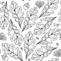 Vector seamless texture with leaves and flowers on white background. Hand drawn graphic illustration, with berries, acorns in black and white. Pattern, good for fabric, print, autumn design