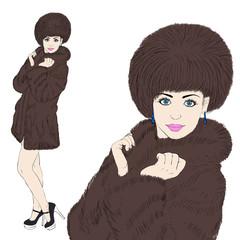 Fashion model in fur coat. Sketch.