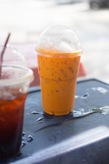 Iced milk tea or Thai milk tea