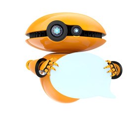 Orange robot holding blank chat bubble isolated on white background. 3D rendering image with clipping path.