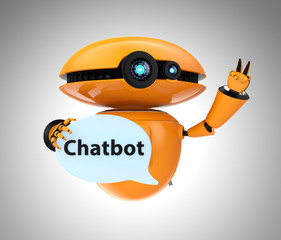 "Orange robot holding chat bubble with ""Chatbot"" text. 3D rendering image with clipping path."