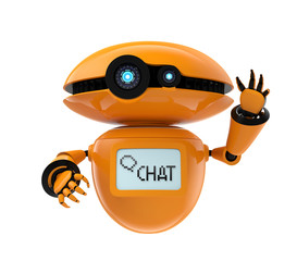 Orange robot isolated on white background. 3D rendering image with clipping path.