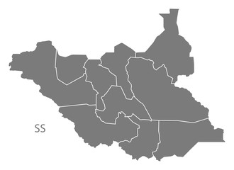 South Sudan with states Map grey