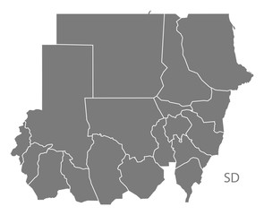 Sudan with states Map grey