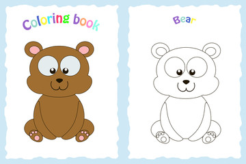 Coloring book page for preschool children with colorful bear and sketch to color