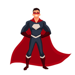 Male superhero cartoon style vector illustration isolated on white background. man in casual suit and in superhero disguise, super power man. Ordinary person as superhero concept