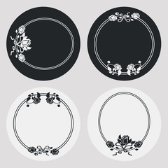 Set of silhouette round frames with roses. Design elements for graphic backgrounds. Vector clip art.
