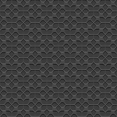 3d Black Seamless Flower Pattern in Oriental style