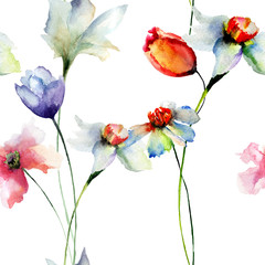 Seamless wallpaper with Narcissus andTulips flowers