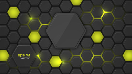 Abstract vector background or pc desktop wallpaper with hexagonal structure and backlighting.