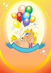 Background with balloons and pony