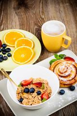 Healthy breakfast on wooden background