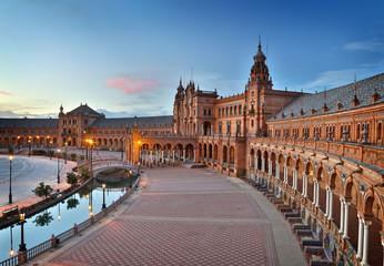Seville, Spain. Plaza de Espana (Spain Square) after sunset