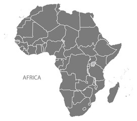 Africa Map with countries grey