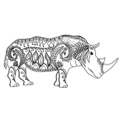 Drawing zentangle inspired rhino for coloring page, shirt design effect, logo, tattoo and decoration