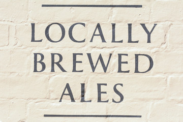 Locally Brewed Ales sign outside public house
