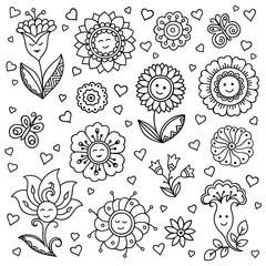 Vector  pattern - flower with smile. Doodle style, spring floral background. Design element in Doodles style. Pattern for coloring book.