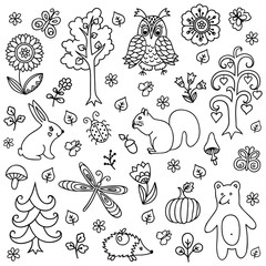 Vector elements in doodle childish style, handdrawn animals and insects, trees and plants. Design element in Doodles style. Pattern for coloring book.