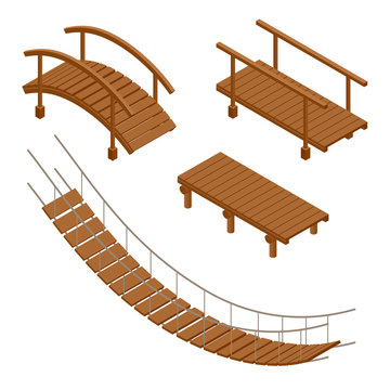 Hanging wooden bridge, wooden and hanging bridge vector illustrations. Flat 3d isometric set.