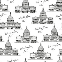 United States Capitol Building (Capitol Hill) seamless pattern