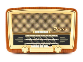 Portable brown retro radio receiver isolated on white background