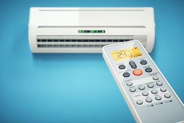 Remote controller of air conditioner indoor. Concept 3d