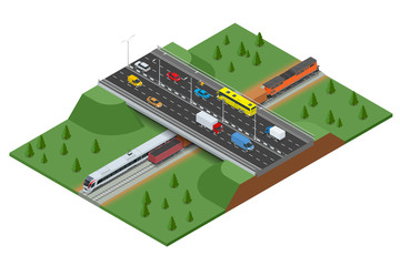 Railway road and track with the traffic. Modern high speed train and Freight Train. Flat 3d vector isometric concept.