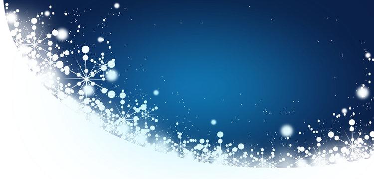 Winter blue white background