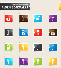 Lock and Key Bookmark Icons