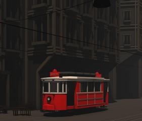 low poly modelling-İstanbul nostalgic tram-Cinema 4D
