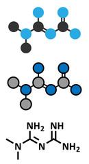 Metformin diabetes drug (biguanide class) molecule.