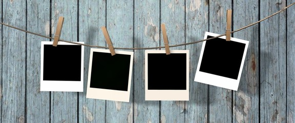 our blank instant photos hanging on the clothesline
