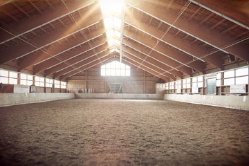 Brightly lit interior of an indoor riding school Wall mural