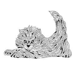 Vector monochrome hand drawn zentagle illustration of cat.
