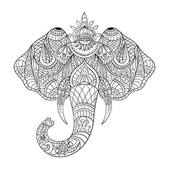 Vector monochrome hand drawn zentagle illustration an elephant head