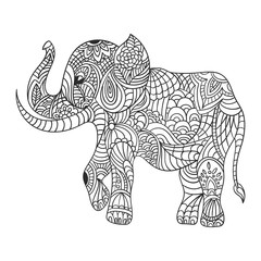 Vector monochrome hand drawn zentagle illustration of an elephant