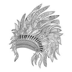Vector monochrome hand drawn zentagle illustration of Indian bonnet