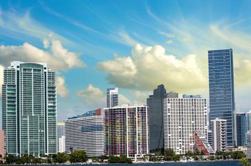 Cloudy Sky over Miami Skyscrapers, Florida