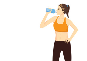 Sport woman lifting bottle and drinking water after workout for refresh.