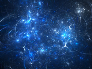 Blue glowing synapses in space