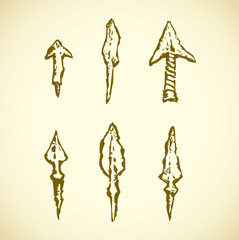 Arrowheads. Vector in engraving style