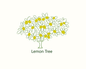 Stylized contour lemon tree with text on a light background