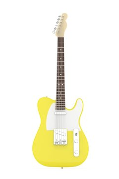 Isolated yellow electric guitar on white background.  Musical instrument for rock, blues, metal songs. 3D rendering.
