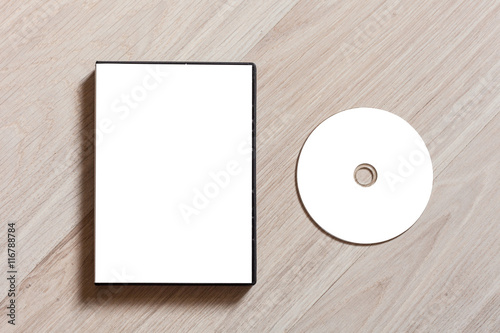 dvd or cd disc cover case mockup template with plastic box and disc