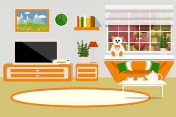 Living room interior vector illustration. Living room furniture, sofa, table, shelf, TV, carpet, cartoon