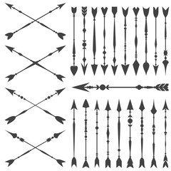 Arrow clip art set in on white background. Collection of vintage arrows with clear geometric silhouettes.