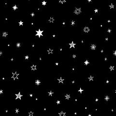 Seamless pattern with handdrawn stars